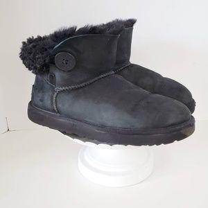 UGG Black Mini Bailey Button Boot 9